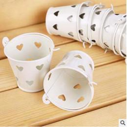 $enCountryForm.capitalKeyWord Australia - 40pcs Cute Mini pink white Silver Metal Bucket Candy Box for Wedding Baby Shower Party Supplies Favors boxes decor buckets