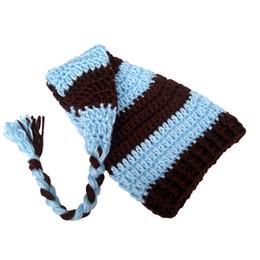 CroChet elf hats online shopping - Cute Stocking Hat Handmade Knit Crochet Baby Boy Girl Blue Stripe Beanie Cap Baby Long Tail Elf Hat Infant Newborn Photo Prop