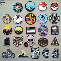 $enCountryForm.capitalKeyWord NZ - (46 Differents Styles) 1 PCS Round Patches for Clothes Iron on UFO Appliques DIY Skull Stripes Embroidery Stickers Animals Badge