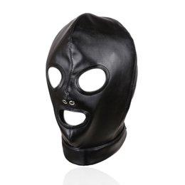 Sexy Toys Cosplay Australia - Fetish Mask Hood Sexy Toys Open Mouth Eye Bondage Hood Party Mask Cosplay Slave Headgear Mask Adult Game Sex Products