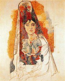 Handpainted dresses online shopping - Pablo Picasso Classical Oil Painting Woman With Spanish Dress Handmade By Experienced Painter On White Canvas Picasso1071