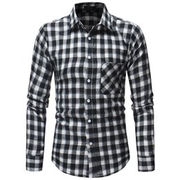 $enCountryForm.capitalKeyWord Australia - Male Shirt 2019 Brand Men Fashion Long-sleeves Tops Classic Lattice Black Mens Dress Shirts Stand Collar Slim Men Shirt Xxxl