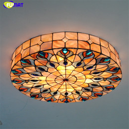 $enCountryForm.capitalKeyWord NZ - FUMAT Tiffany Ceiling Lamps LED Natural Shell Shade Lamps Living room Peacock feathers Ceiling Lights For Bed Room Lights