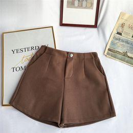 $enCountryForm.capitalKeyWord Australia - Korean Fashion Woolen Women Shorts High Waist Female Loose Thick Warm Elastic Waist Boots Shorts Wide Leg A-line S7068