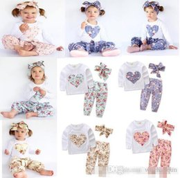 $enCountryForm.capitalKeyWord NZ - kids clothing INS heart-shaped flower Suits Kids Toddler Infant Casual Short long sleeve T-shirt +trousers+Hair band 3pcs sets pajamas