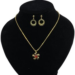 Wholesale Pendant Sets NZ - Fashion Charm Jewelry Set Round Circle Earrings Flower Necklaces & Pendants Necklace Set For Women Wedding Jewelry bijoux