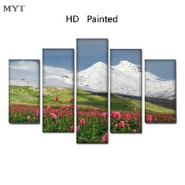 $enCountryForm.capitalKeyWord Australia - High Quality HD Printed 5 Pieces big size Canvas beautiful painting flowers and snow mountains Wall Art pictures Home Decor