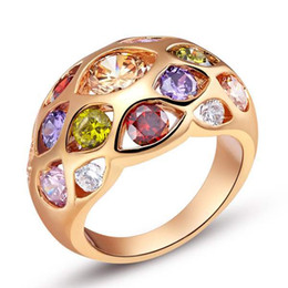 $enCountryForm.capitalKeyWord UK - Environmentally friendly copper plated 18K gold colored gemstone ring gold silver 925 silver decorative ring