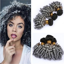 $enCountryForm.capitalKeyWord Australia - Aunty Funmi Virgin Peruvian Silver Grey Ombre Human Hair Bundles Deals 3Pcs Lot #1B Grey Dark Root Ombre Hair Weave Wefts Bouncy Curly