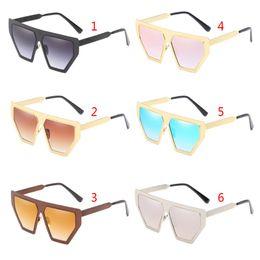 $enCountryForm.capitalKeyWord UK - Geometric Sunglasses Metal Frame Unique Personality UV400 Vintage Unisex Luxury Flat Top Sun Glasses