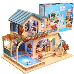 miniatures pvc toys UK - Blue And White Town Doll House Furniture Diy Miniature 3D Wooden Miniaturas Dollhouse Casa Toys for Children Birthday Gifts