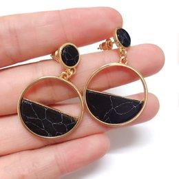 $enCountryForm.capitalKeyWord UK - Handmade fashion simple geometric circular marble long earrings girls popular earrings earrings temperament