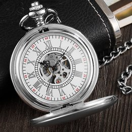Ladies hand cLocks online shopping - Vintage Silver Pocket Watch Mechanical Man Hand Wind Steampunk Necklace Fob Watch Chain Roman Numerals Lady Clock For Women Men