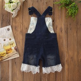toddler girl jeans shorts UK - Toddler children clothes clothing Kids Baby Girl Sunflower Denim Suspender Shorts Jean Lace Overall Clothes pants
