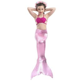 Discount mermaid tail for swim Little Mermaid Tails for Swimming Costume Mermaid Tail Cosplay Girls Swimsuit Kids Children Swimmable suit Monofin