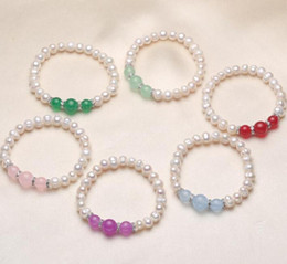 Pearl Bead Elastic Australia - 100% natural Freshwater white Pink Pearl Bracelet Crystal beads 7mm pearl Beaded Bracelet Elastic force Bridal Bracelet 12pcs