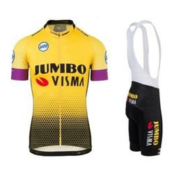 Chinese  2019 pro team jumbo visma yellow cycling jersey kits Bicycle maillot breathable MTB quick dry bike Ropa ciclismo gel pad manufacturers