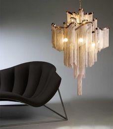 EnginEEring pEndant online shopping - Italian Design Silver Art chandelier Engineering Design Luxury Chain Tassel Aluminum Chain LED Beautiful chandelier Lighting
