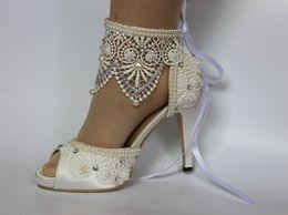 HigH Heels anklet online shopping - Downton Handmade Pearls and Lace Wedding Shoes open toe Bridal Shoes bridesmaid heels Prom Party Shoes with Lace flower Anklets size