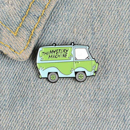 Wholesale mystery machine resale online - Magical green car enamel pins The Mystery Machine badges Solve trouble brooches for women Backpack bag Lapel pin Cartoon cute Jewelry gifts