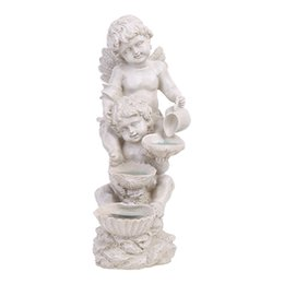 angels figures Australia - European Angel Modelling With Lamp Statue Resin Crafts Figure Arts Sculpture Outdoor Garden Courtyard Lawn Decoration R2977