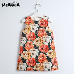 Menoea Girls Summer Dress New European and American Style Children Pattern Printed  Clothes Dress Oil Painting Kids Floral a7d377d2ab1e