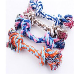 ultrasonic cleaning steel NZ - 17 23 28 33cm Pet Dog Toy Double Knot Cotton Rope Braided Bone Shape Puppy Chew Toy Cleaning Tooth Color Randomly