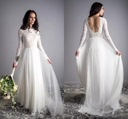 informal lace wedding dresses NZ - New A Line Lace Tulle Boho Cheap Wedding Dresses With Long Sleeves Low Back Informal Beach Bridal Gowns Vestidos De Novia
