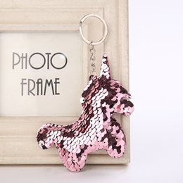 $enCountryForm.capitalKeyWord NZ - Sequin Unicorn Keychain Glitter Keyring Bags Pendant Charms Decoration Car Key Ring Phone Accessories Kids Party Gifts 6C1232 C19011001