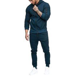 Body Fitness Suit Australia - Sport Suit Men Running Gym Clothing Hoodie Tracksuit Male Fitness Body building Men Hoodies+Pants Joggers Set Sport Suit D5