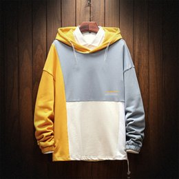 korean style fashion hoodies NZ - Idopy Men`s Fashion Korean Style Hoodie Patchwork Loose Streetwear Printed Sweatshirt For Youth