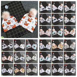 8a5abd5c809025 31 Styles Baby Animals Printed INS Beanies Panda Hats Shark Bear Girls Boys  Faux Fur Pompom Ball Earmuffs Caps CCA10887 60pcs