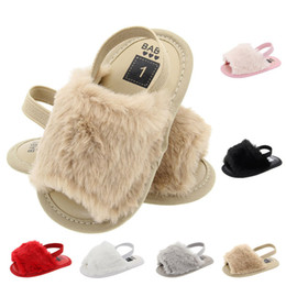 BaBy girl Black sandal online shopping - 2019 New Summer Baby Girls Fur Sandals Fashion Infant Fur Slippers Warm Soft Kids Home Shoes Children Toddler Baby Shoes Solid Color A32203