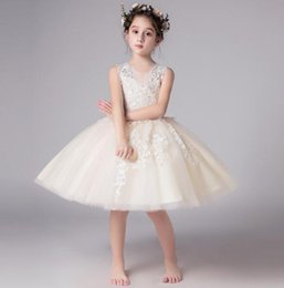 chiffon christmas evening dresses 2021 - 2020 New Elegant Girl Sequin Flower Dress Wedding Evening Party Gown Girls Vestido Princess Formal Children Clothing Kid