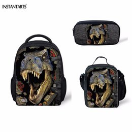 dinosaur children bag Australia - INSTANTARTS 3D Printing Dinosaur Kindergarten Students 3PCS Schoolbags Casual Children Boys Girls School Bags Mini Baby Backpack