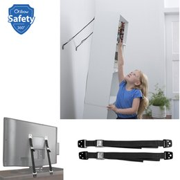 Wholesale tipped tv online – design 2pcs Lock Children Flat Tv Proof Tip Straps Baby Security Protection Furniture Wall Strap Kids Safety Products Q190530