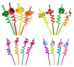 cute plastic straws Canada - 3D Party Bar Straws Creative Cute Flexible Plastic Drinking Straws Cocktail Drinking Straw Hawaiian Party Decoration Party Favor Supplies