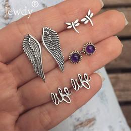 $enCountryForm.capitalKeyWord Australia - 4 Pairs Set Bohemian Wings Purple Crystal Stud Earrings Set Antique Silver Metal Vintage Owl Earrings For Women Jewelry Dazzling