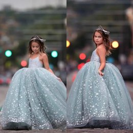 party wear dresses for girl kid NZ - Sparkly Adorable Blue Sequined Shiny Stars Girls Pageant Dresses For Teens Spaghetti Straps Long Kids Prom Dress Formal Party Wear Gowns
