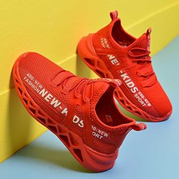 slip rubber shoes Canada - New Kids Casual Shoes Boys Breathable Non-slip Sneakers Outdoor Sport Shoe Slip On Super Light Basket Footwear Red Spring Autumn