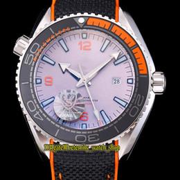 Watches Nylon Australia - Planet Ocean 600m Co-Axial 215.92.44.21.99.001 Ceramics Bezel Black Dial Miyota Automatic Mens Watches Silvery Case Nylon Strap