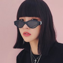 brand x sunglasses NZ - Korean 2019 Cool Trendy Small Frame Hip Hop Cat Eye Sunglasses Women Sun Glasses For Men Brand X Printing Fashion