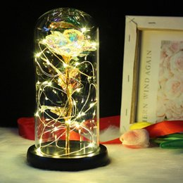 best string lights NZ - Hot Best Gift For Women Artificial Gold Foil Rose Flower And LED Light String In Glass Dome On Wooden Base(Battery Not Included)