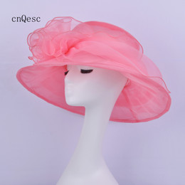 netted hats Australia - 2019 Coral pink Big Organza Hat Net hat for Kentucky derby church wedding races party w flower.