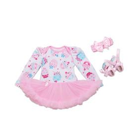 $enCountryForm.capitalKeyWord Australia - Newest Fashion Newborn Clothing Sets Long Sleeve Baby Girl Dresses Ice Cream Rompers Tutu Dress+Shoes+Headband=3PCS Set