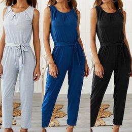 nice jumpsuits Australia - Nice Pop Women Casual Sleeveless Belt O-neck Jumpsuit Playsuit For Summer Cgu 88