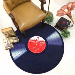 Red Living Room Chairs Australia - Round Carpet 3D Vinyl Record Printed Carpets for Living Room Anti-slip Rug Computer Chair Floor Mat for Home Decor Kids Room