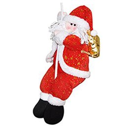Discount outdoor santa claus decorations - Christmas Decoration Santa Claus Climbing On Rope for Indoor Outdoor Wall Window Hanging Xmas Ornament