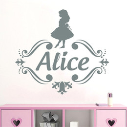 Wholesale names people online – design Custom Name Vinyl Wall Decal Kids Nursery Room Decals Girls Personalized Name Wall Sticker Alice in Wonderland Decor