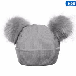 9db2e8c30c4 Winter Knitted Baby Hats Girls Boys Sweet Solid Hat With Two Fur Pompoms  Balls Kids Caps For Baby Girls Warm Soft Hat Cap